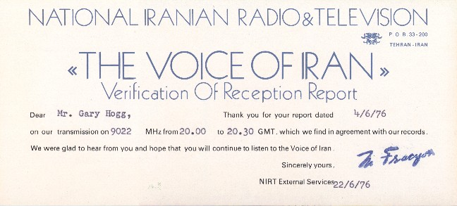 qsl irib, voice of iran